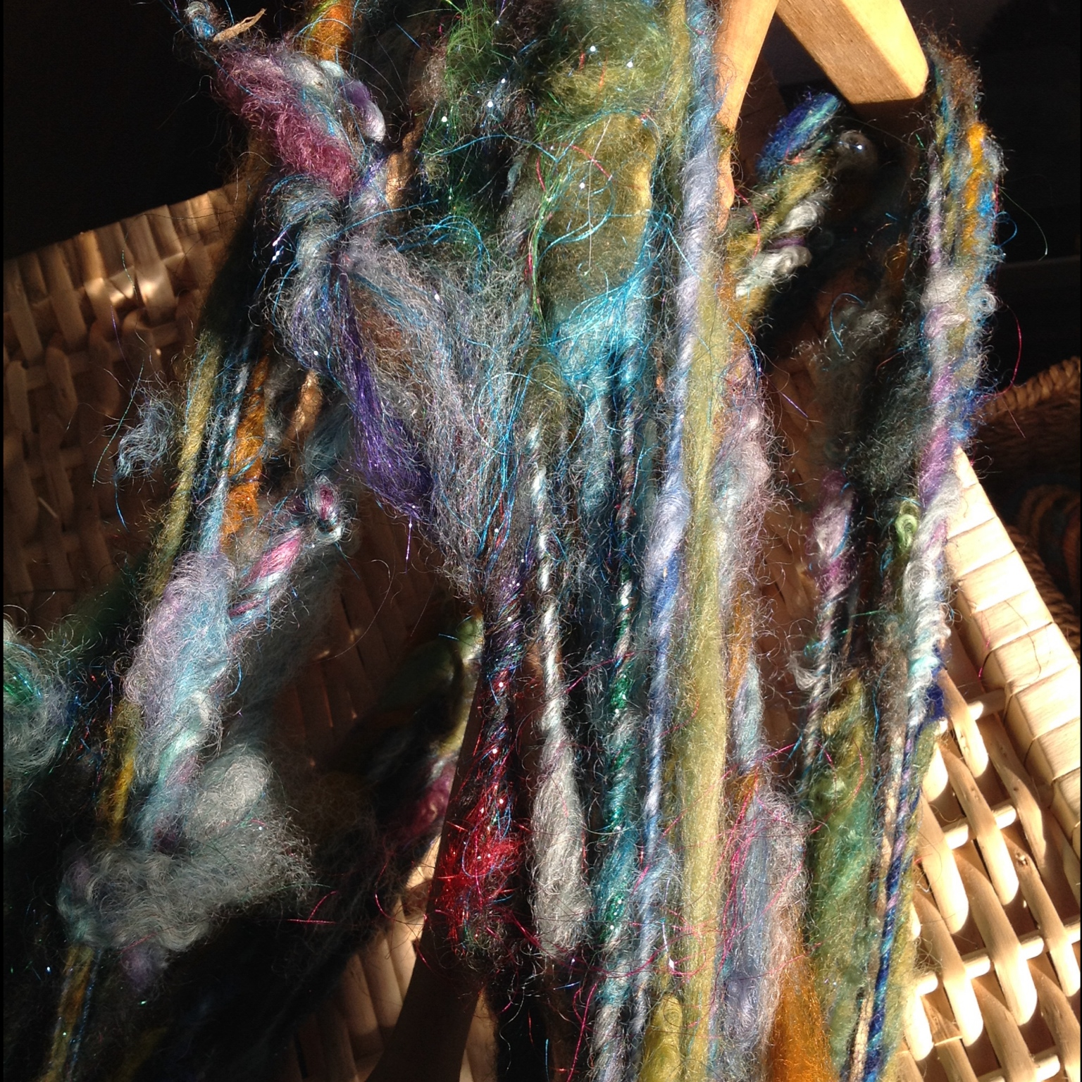 Art yarn on a niddy noddy